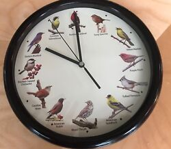 Singing Bird Wall Clock 10 inches Wide 12 Birds Faux Dark Wood Trim Work Good