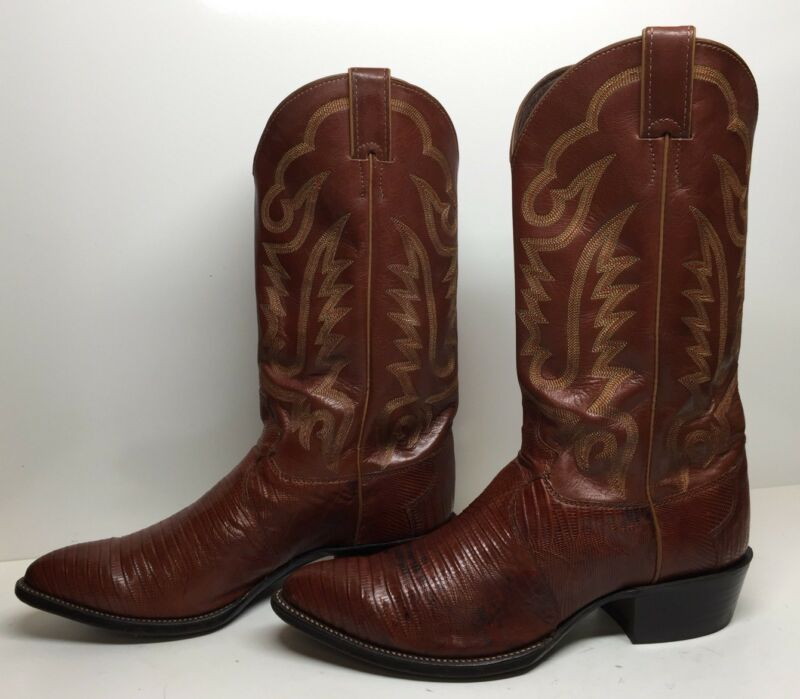 #E, MENS, , JUSTIN, , COWBOY, LIZARD, SKIN, BROWN, BOOTS, SIZE, 9.5, EE