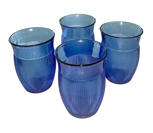 Hazel-Atlas, Fine Rib, Cobalt Blue, Art Deco, 8 oz. Glass Tumblers, Set of 4