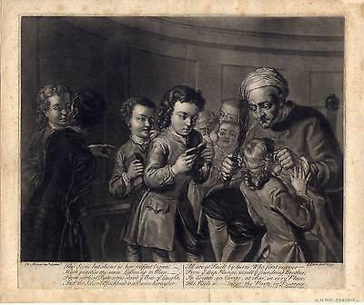 Lehrer mit der Rute - Schule - Schabkunstblatt Mercier / Faber 1739