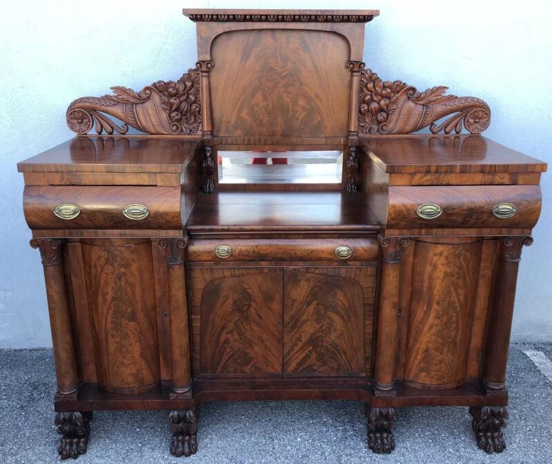 Rare Philadelphia Empire Carved Mahogany Quervelle Sideboard Eagles/Cornucopias