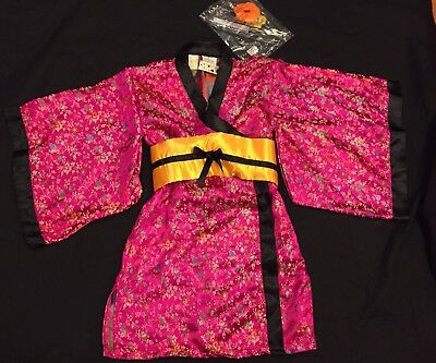 NWT Pink Silky Geisha Japanese Asian Kimono Girls size 4 Halloween Costume CUTE!](Halloween Geisha)