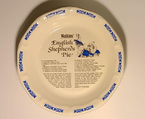 "Vintage 1983 Watkins English Shepherds 10"" Pie Dish & Recipe #6485"