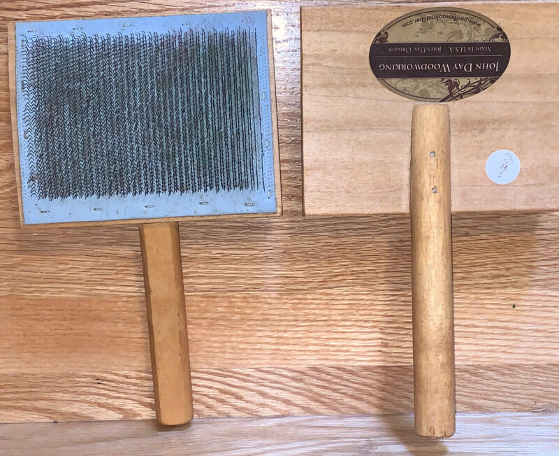 John Day Woodworking Hand Carding Brush Combs Wool Cotton Cards Carders