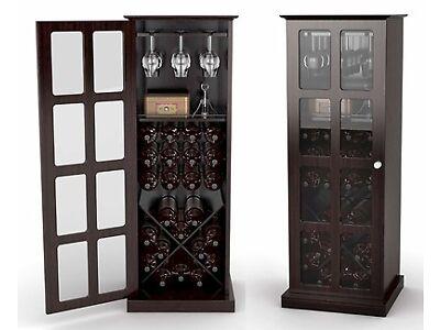 24 Bottle Wine Storage Rack Cabinet w/ Glass Door - Espresso NEW