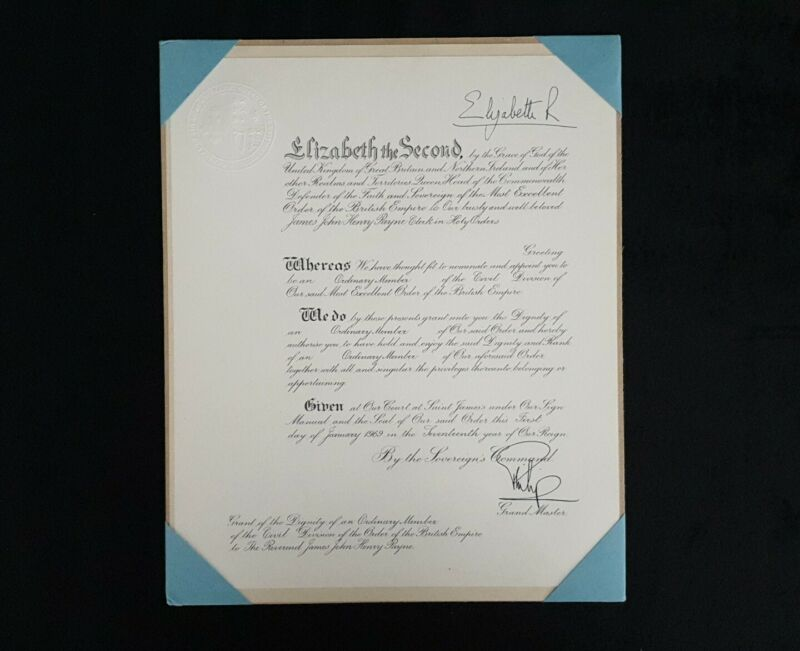 Queen Elizabeth II Prince Philip Signed Royal Document OBE Certificate Autograph
