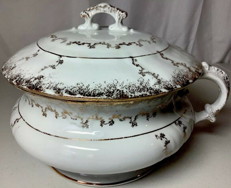 Antique Ornate Chamber Pot With Lid Gold & White Crown Stamped