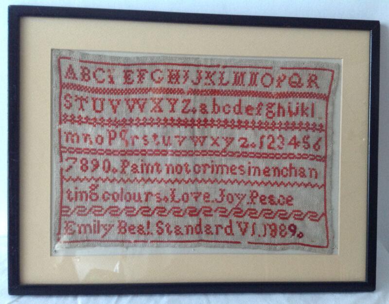 Antique Framed Alphabet Sampler Embroidery Linen Textile 1889 By Emily Beal
