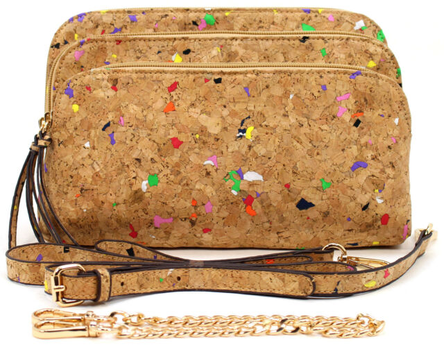 Amy & Joey Cork Material 5 Compartments Clutch and Crossbody Bag