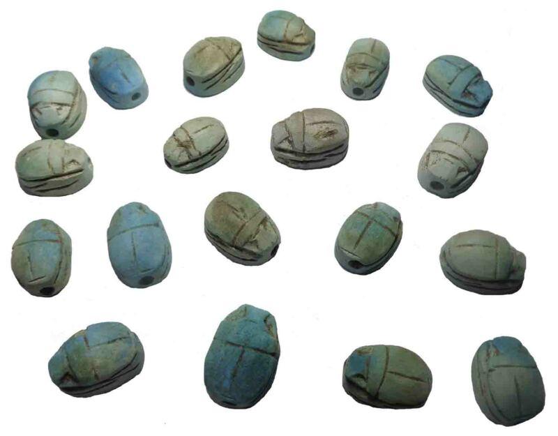 Egyptian Faience Scarab Pharaoh Hieroglyphics handmade Beads Lot 12 XS Bead 205