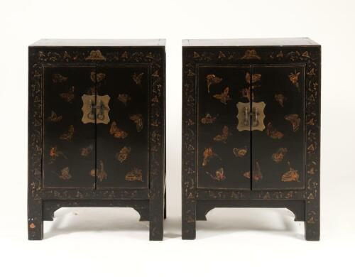 Rare Matched Pair China Chinese Lacquer cabinets w/ Butterfly Decor Qing Dynasty