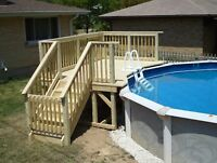 Deck piscine patio en bois traité