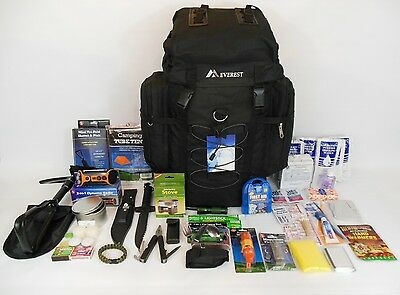 3 Day 72 Hour Emergency Survival Kit Bug out Bag  Zombie in Black for 1 Person