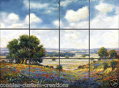 Bluebonnet Landscape Painting Tile Mural Kitchen Bath Art Ceramic -