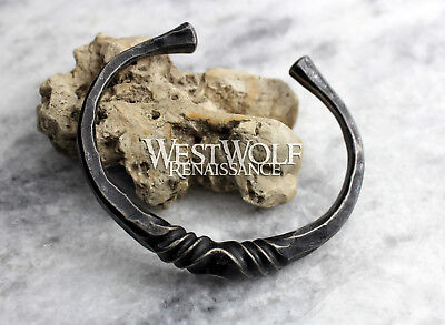 Hand-Forged Twisted Steel Torc --- Viking/Celtic/Blacksmith Bracelet/Band/Cuff