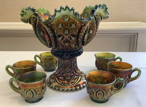 """CARNIVAL GORGEOUS NORTHWOOD GREEN MEMPHIS 7 PEICE PUNCH SET """"AWESOME COLOR"""""""
