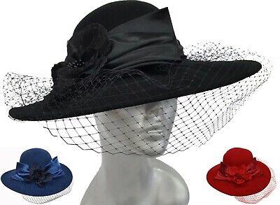 Women's Dressy Hat Fall Winter 100% Wool Felt Casual Dress Church Formal (Ladies Fall Dress Hat)