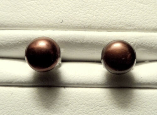 New Brown CHOCOLATE PEARL Earrings 925 Silver backs Natural Fashionista Gift Her