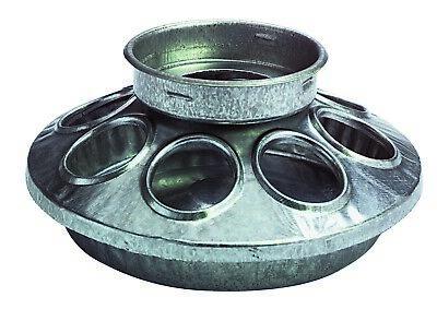 Miller Manufacturing 9810 Strong Round Galvanized Quart Jar Feeder Chicken Bird