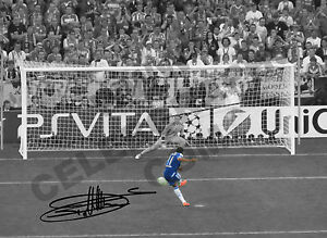 Didier Drogba Signed & Mounted, Autograph Photo Print Chelsea Champions League
