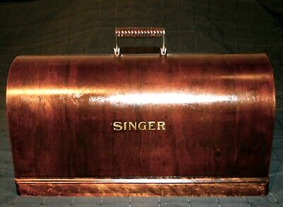 1915 ORIGINAL SINGER ANTIQUE BIG WOOD COVER COFFIN TOP BONNET SEWING MACHINES for sale  Shipping to Nigeria