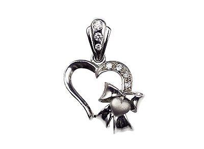 925 Sterling Silver Cubic Zirconia Ribbon Heart Charm Pendant Gift Cubic Zirconia Ribbon Pendant