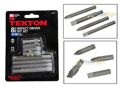 "8 Pc Piece Impact Driver Bit Set Screwdriver Kit Tekton 2915 5/16"" Hex Shaft"