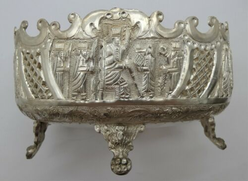 Antique Persian 84 SIlver Hand Chased Footed Bowl