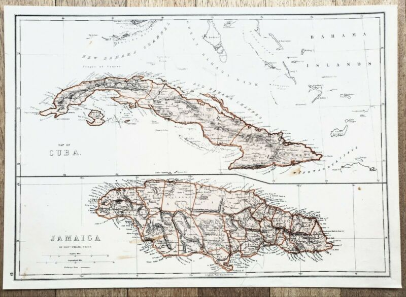 1875 Cuba Jamaica Map Havana Kingston Bahama Channel Railroads ORIGINAL RARE