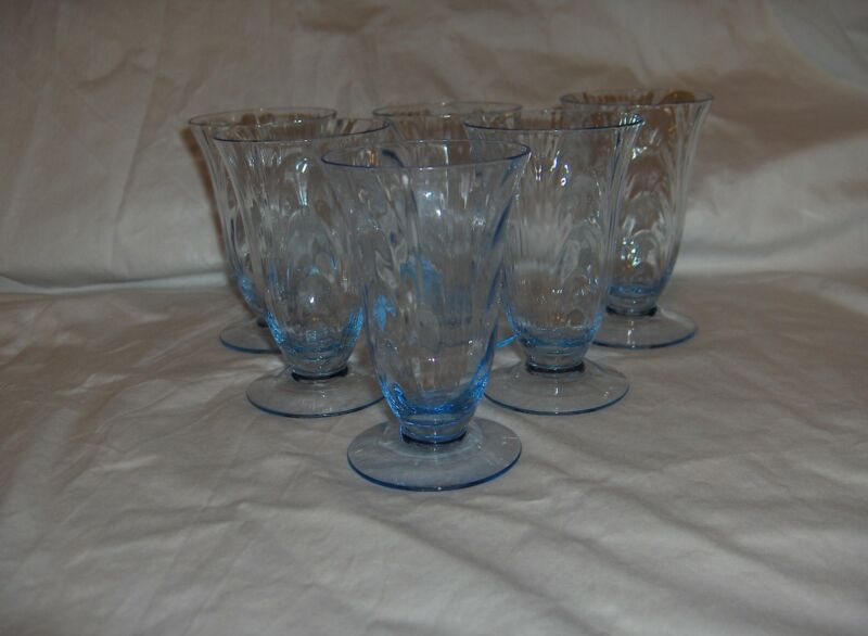 6 Vintage Cambridge Crystal Caprice Juice Goblets Moonlight Blue #300 RARE