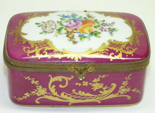 Vtg 1966 Le Tallec Painted Floral & Gold French Porcelain Casket Trinket Box