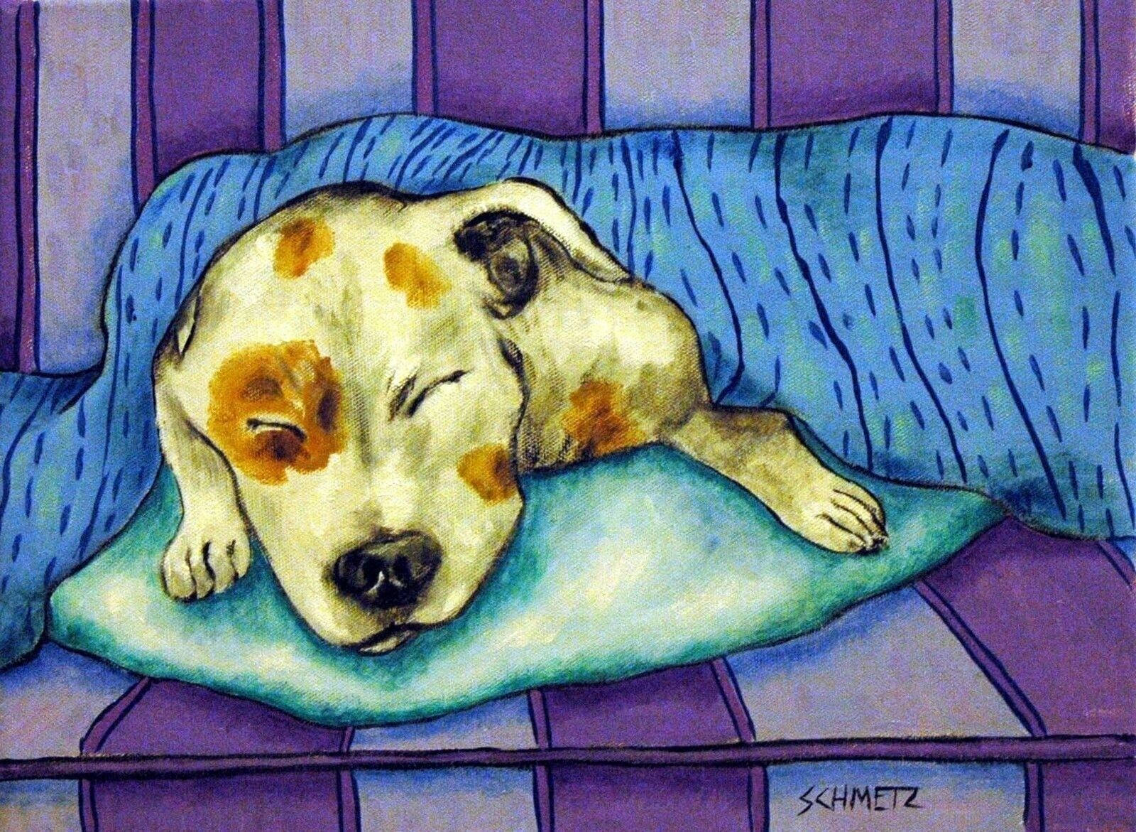 jack russell terrier sleeping animal art DOG      8.5x11 glossy photo print