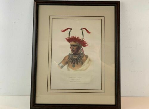 1837-44 Chon-Man-I-Case, Otto Native American Mckenny & Hall Lithograph Framed