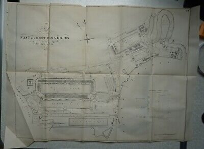 1849 Plan of the East and West India Docks, April 1841 - London, River Thames