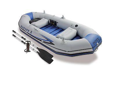 Intex Mariner 3 Inflatable Raft River Lake Dinghy Boat   Oars Set 68373Ep