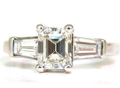 GIA 1.56CT BRILLIANT EMERALD CUT DIAMOND RING J/VVS2 SOLITAIRE+