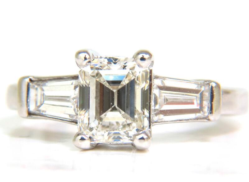 █$14000 Gia 1.56ct Brilliant Emerald Cut Diamond Ring J/vvs2 Solitaire W Accents