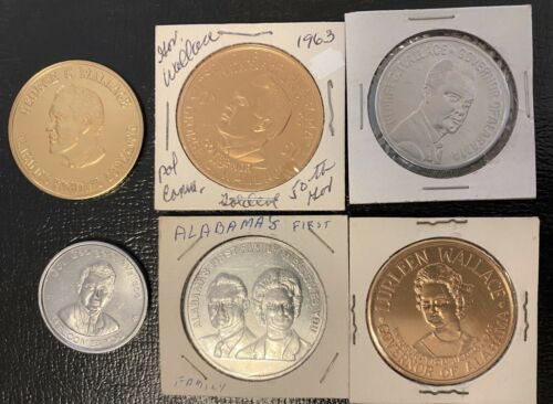 1963-1968 George & Lurleen Wallace for President and AL Governor Tokens Medals
