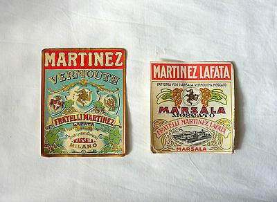 LOTTO 2 ETICHETTE D'EPOCA-OLD LABEL FRATELLI MARTINEZ- LAFATA-VERMOUTH- MARSALA