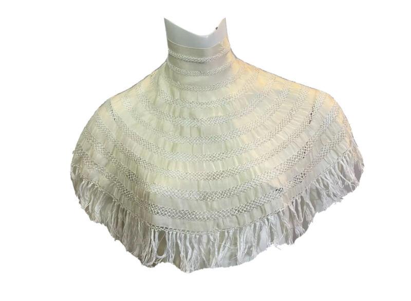 Antique Edwardian Cream Silk Fringed COLLAR Notorious RBG Ruth Bader Ginsberg