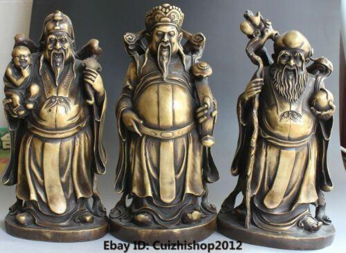 "14"" Chinese Pure Bronze Stand Longevity God Fu Lu Shou Life Statues Set"