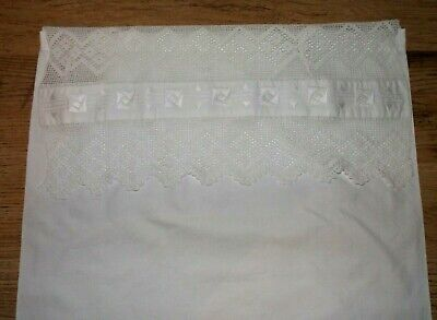 Vintage White Cotton Pillowcase with Lace/Embroidery Edge  - c1910