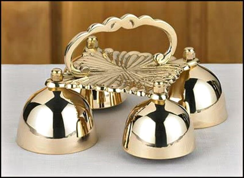 Sacristy Multi Size 4-Bell Brass Altar Bells with Handle for Churches, 8 In N.G.
