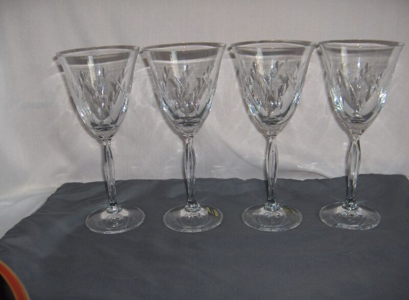 4 Vintage Mikasa Fine Crystal Dune Grass Water Goblets  MINT