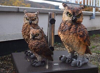 Deko Figuren Eulen Kauz Uhu Gartenfigur Greifvogel Dekoration Vogel Skulptur Neu