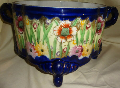 Rare MEIJI c1870 PRE-NIPPON hand painted FOOTED COBALT large JARDINIERE - FLORAL