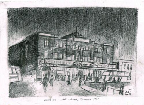 "Northern Soul Art; ""Outside the Casino, January 1974"", Original Pencil Sketch"