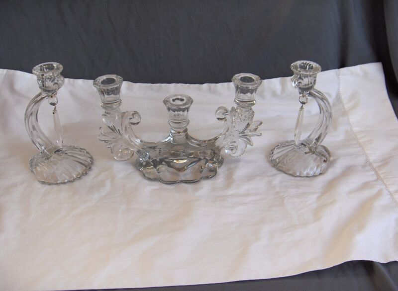 3 Pc Vintage Cambridge Clear Glass Caprice Candlesticks # Candelabra #300 NICE