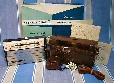 1964 INTERNATIONAL EP-200 SHORTWAVE & MW TRANSISTOR RADIO ~ WORKING BOXED w/ ACC