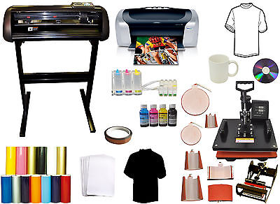 8in1 Combo Heat Press24 1000g Vinyl Cutter Plotterprinterciss Mug Ink Bundle